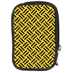 Woven2 Black Marble & Yellow Colored Pencil Compact Camera Cases