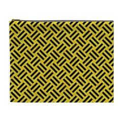 Woven2 Black Marble & Yellow Colored Pencil Cosmetic Bag (xl)
