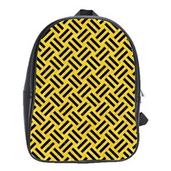 Woven2 Black Marble & Yellow Colored Pencil School Bag (large)