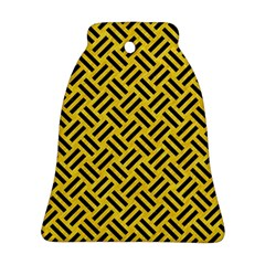 Woven2 Black Marble & Yellow Colored Pencil Ornament (bell)