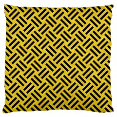 Woven2 Black Marble & Yellow Colored Pencil Large Cushion Case (one Side)