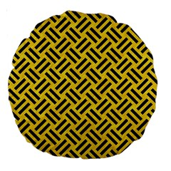 Woven2 Black Marble & Yellow Colored Pencil Large 18  Premium Round Cushions