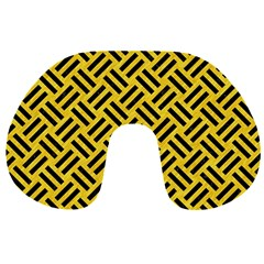 Woven2 Black Marble & Yellow Colored Pencil Travel Neck Pillows