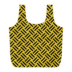 Woven2 Black Marble & Yellow Colored Pencil Full Print Recycle Bags (l)