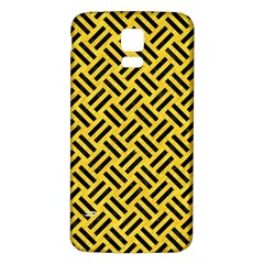 Woven2 Black Marble & Yellow Colored Pencil Samsung Galaxy S5 Back Case (white)