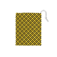 Woven2 Black Marble & Yellow Colored Pencil Drawstring Pouches (small)