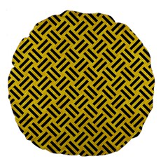 Woven2 Black Marble & Yellow Colored Pencil Large 18  Premium Flano Round Cushions