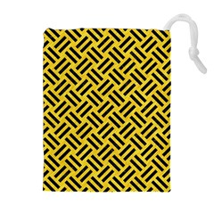 Woven2 Black Marble & Yellow Colored Pencil Drawstring Pouches (extra Large)