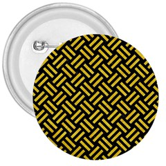 Woven2 Black Marble & Yellow Colored Pencil (r) 3  Buttons