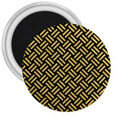Woven2 Black Marble & Yellow Colored Pencil (r) 3  Magnets