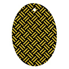 Woven2 Black Marble & Yellow Colored Pencil (r) Ornament (oval)
