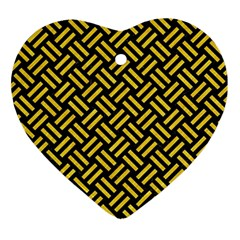 Woven2 Black Marble & Yellow Colored Pencil (r) Ornament (heart)