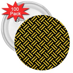 Woven2 Black Marble & Yellow Colored Pencil (r) 3  Buttons (100 Pack)