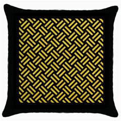 Woven2 Black Marble & Yellow Colored Pencil (r) Throw Pillow Case (black)