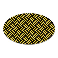 Woven2 Black Marble & Yellow Colored Pencil (r) Oval Magnet