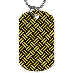 Woven2 Black Marble & Yellow Colored Pencil (r) Dog Tag (two Sides)