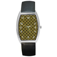 Woven2 Black Marble & Yellow Colored Pencil (r) Barrel Style Metal Watch