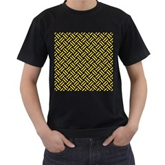 Woven2 Black Marble & Yellow Colored Pencil (r) Men s T Shirt (black) (two Sided)