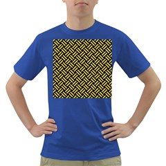 Woven2 Black Marble & Yellow Colored Pencil (r) Dark T Shirt