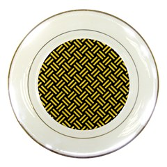 Woven2 Black Marble & Yellow Colored Pencil (r) Porcelain Plates
