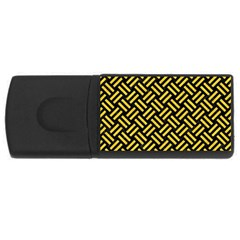 Woven2 Black Marble & Yellow Colored Pencil (r) Rectangular Usb Flash Drive