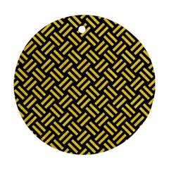 Woven2 Black Marble & Yellow Colored Pencil (r) Round Ornament (two Sides)