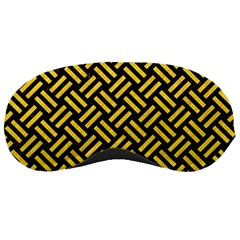 Woven2 Black Marble & Yellow Colored Pencil (r) Sleeping Masks