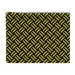 Woven2 Black Marble & Yellow Colored Pencil (r) Cosmetic Bag (xl)