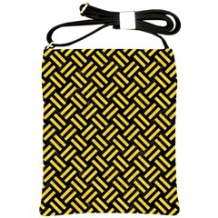 Woven2 Black Marble & Yellow Colored Pencil (r) Shoulder Sling Bags