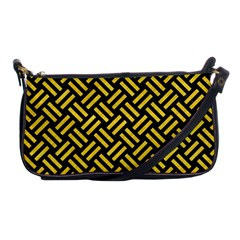 Woven2 Black Marble & Yellow Colored Pencil (r) Shoulder Clutch Bags
