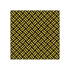 Woven2 Black Marble & Yellow Colored Pencil (r) Acrylic Tangram Puzzle (4  X 4 )