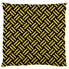 Woven2 Black Marble & Yellow Colored Pencil (r) Large Cushion Case (two Sides)