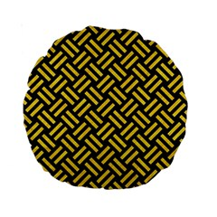 Woven2 Black Marble & Yellow Colored Pencil (r) Standard 15  Premium Round Cushions