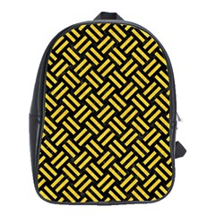Woven2 Black Marble & Yellow Colored Pencil (r) School Bag (xl)