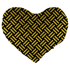 Woven2 Black Marble & Yellow Colored Pencil (r) Large 19  Premium Heart Shape Cushions