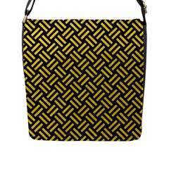 Woven2 Black Marble & Yellow Colored Pencil (r) Flap Messenger Bag (l)