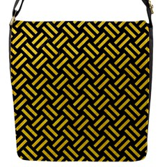 Woven2 Black Marble & Yellow Colored Pencil (r) Flap Messenger Bag (s)