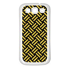 Woven2 Black Marble & Yellow Colored Pencil (r) Samsung Galaxy S3 Back Case (white)