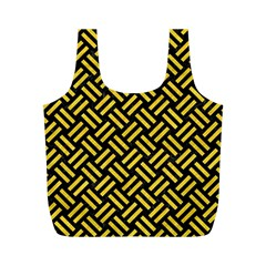 Woven2 Black Marble & Yellow Colored Pencil (r) Full Print Recycle Bags (m)