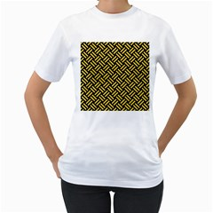 Woven2 Black Marble & Yellow Colored Pencil (r) Women s T Shirt (white)