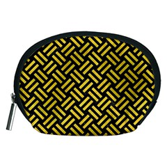 Woven2 Black Marble & Yellow Colored Pencil (r) Accessory Pouches (medium)