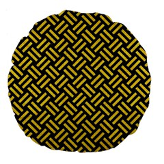 Woven2 Black Marble & Yellow Colored Pencil (r) Large 18  Premium Flano Round Cushions