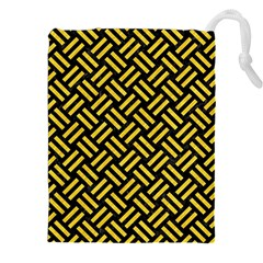 Woven2 Black Marble & Yellow Colored Pencil (r) Drawstring Pouches (xxl)