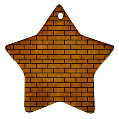 Brick1 Black Marble & Yellow Grunge Ornament (star)