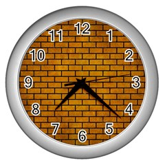 Brick1 Black Marble & Yellow Grunge Wall Clocks (silver)