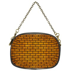 Brick1 Black Marble & Yellow Grunge Chain Purses (one Side)