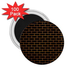Brick1 Black Marble & Yellow Grunge (r) 2 25  Magnets (100 Pack)