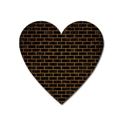 Brick1 Black Marble & Yellow Grunge (r) Heart Magnet