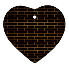 Brick1 Black Marble & Yellow Grunge (r) Heart Ornament (two Sides)