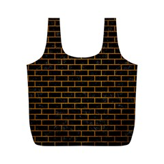 Brick1 Black Marble & Yellow Grunge (r) Full Print Recycle Bags (m)